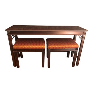 Wooden Console Table With Two Schumacher Stools - 3 Pieces For Sale
