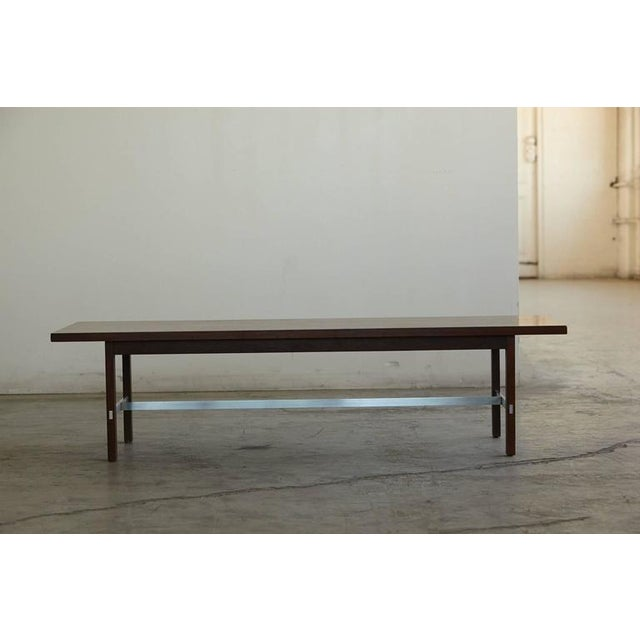 Mid-Century Modern Paul McCobb Walnut and Aluminum Coffee Table for Calvin Furniture For Sale - Image 3 of 9
