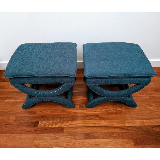 Regency-Style Sculptural Ottomans, a Pair For Sale In Dallas - Image 6 of 8