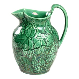 Wedgwood Green Grape Leaf Majolica Pitcher For Sale