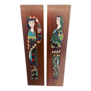 Harlequin Figure Tile Plaques - A Pair For Sale