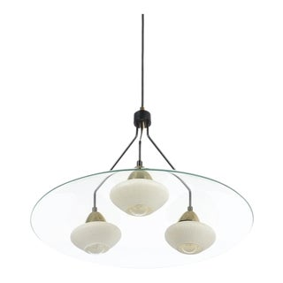 Angelo Lelii Style Ufo Chandelier Clear Glass Brass, Italy Circa 1955 For Sale