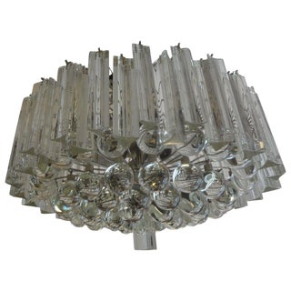 Murano Glass Prism and Sphere Chandelier Attributed to Venini For Sale
