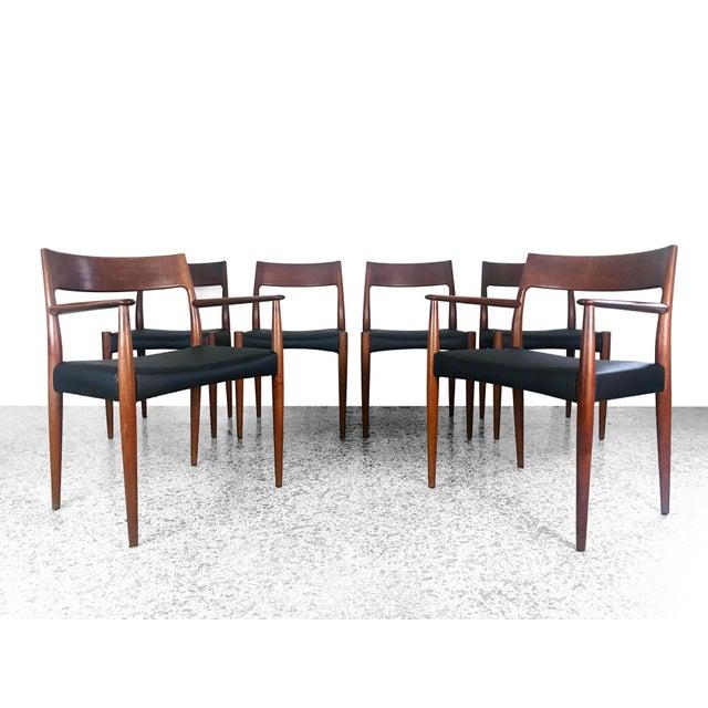 1960s Vintage Arne Hovmand Olsen Danish Teak Dining Chairs - Set of 6 For Sale - Image 12 of 12