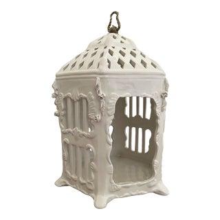 Vintage Italian Majolica Porcelain Birdcage For Sale