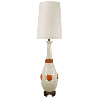 "56"" Nardini Studio White & Red Reticulated Pottery Table Lamp For Sale"