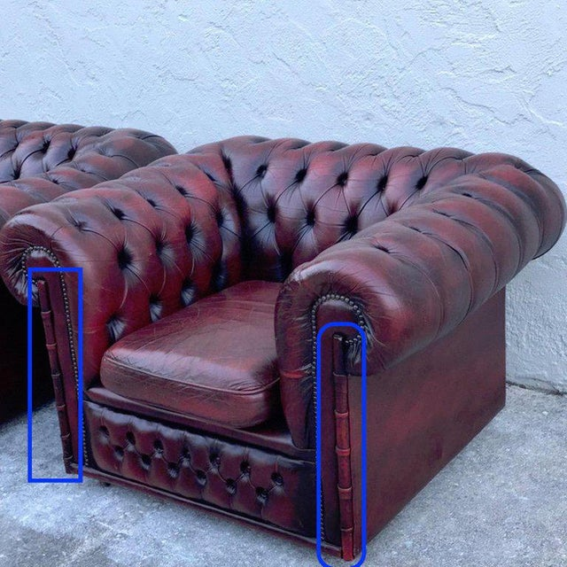 Pair of English Red Leather Chesterfield Club Chairs With Faux Bamboo Detail For Sale In Atlanta - Image 6 of 13