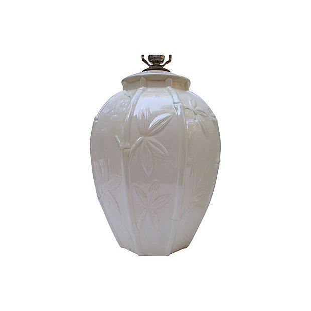 White Ceramic Bamboo Design Lamps - A Pair - Image 6 of 6