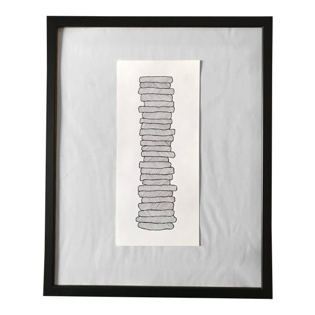 Stacked Shapes Hand Drawn Ink Illustration For Sale