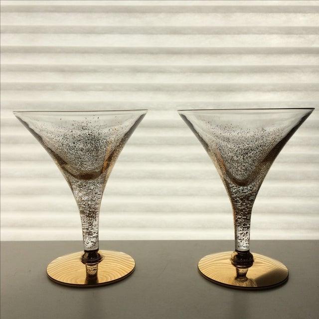 Gold Vintage Gold Speckled Glasses - A Pair For Sale - Image 8 of 9