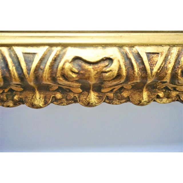 Mid-Century Carved Gilded Gold Wall Mirror - Image 4 of 5