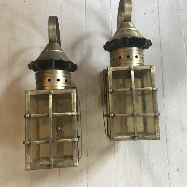 Country 1990s Vintage Outdoor Brass Lanterns - A Pair For Sale - Image 3 of 5