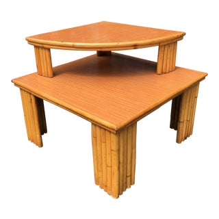 Mid-Century Rattan 2-Piece Table For Sale