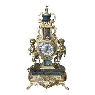 Rococo Louis XVI French Marble & Bronze Mantel Clock For Sale