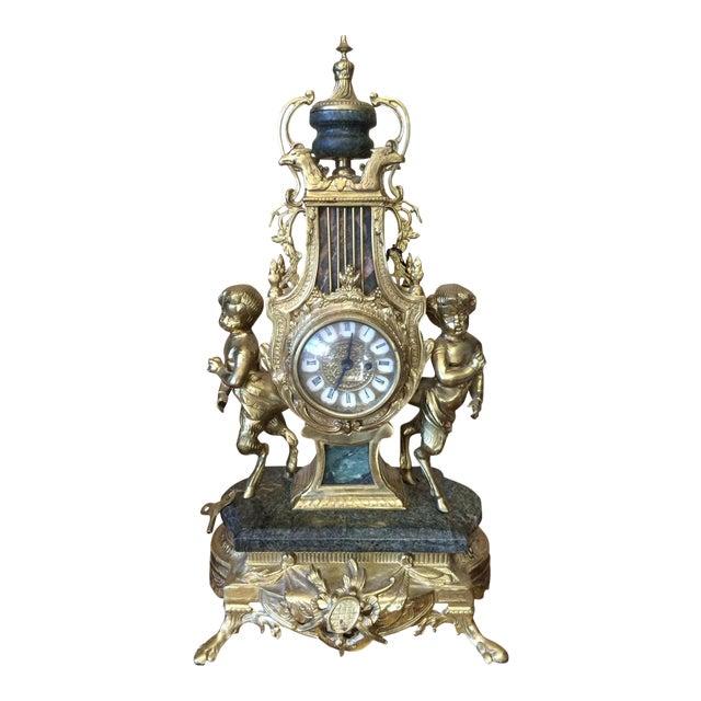 Rococo Louis XVI French Marble & Bronze Mantel Clock For Sale