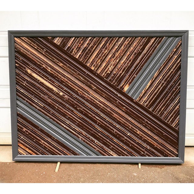Rustic Style Charcoal and Wood Reclaimed Trim Headboard For Sale - Image 4 of 4