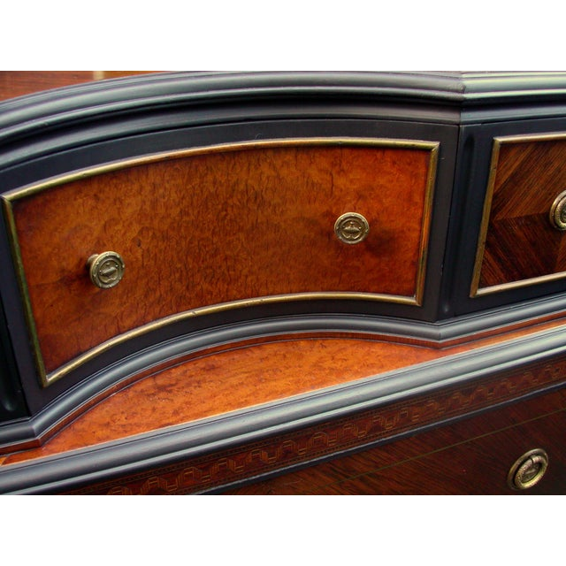 Bethlehem Furniture Vintage Mahogany & Black Highboy Dresser For Sale - Image 5 of 11