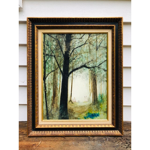 Vintage Mid Century Era Tall Trees Forest Hand Painted Signed Framed Art For Sale - Image 13 of 13
