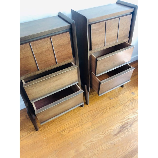 Pair of Mid Century Walnut Nightstands For Sale - Image 9 of 12