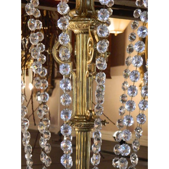 French Bronze Dore Eighteen Candle Chandelier With Crystals, 19th Century For Sale - Image 4 of 11