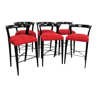Modern Design Custom Red Upholstered Iron Bar Stools - Set of 6 For Sale