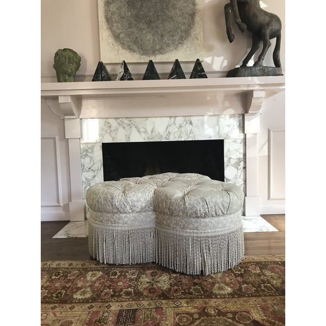 1990s Vintage Tufted Clover Fringe Ottoman For Sale In Dallas - Image 6 of 11