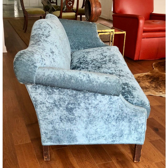 Chippendale Antique Chippendale Camelback Blue Silk Velvet Down Filled Sofa For Sale - Image 3 of 6