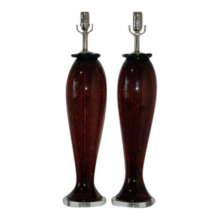 Vintage Murano Glass Lamps Purple For Sale
