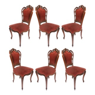 Louis XV Style Mahogany Dining Chairs With Carved Pierced Backs-Set of 6 For Sale
