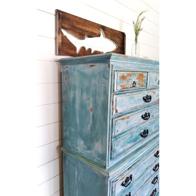 Distressed Coastal Solid Maple Tallboy/Dresser/Chest of Drawers For Sale - Image 6 of 10