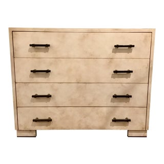 Henredon Acquisitions Modern Off-White Leather Chest of Drawers For Sale