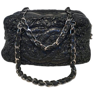 Chanel Black Quilted and Ruched Leather Shoulder Bag Shopping Tote For Sale