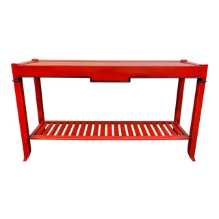 Lilian August Red Lacquer Console Table For Sale
