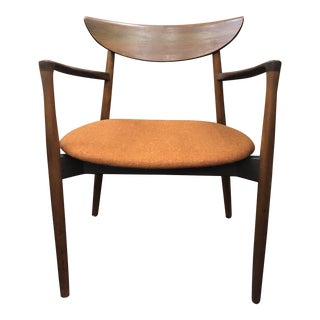 1960s Mid Century Modern Harry Ostergaard Teak Side Captains Side Chair For Sale