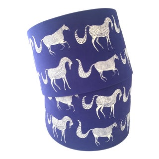 Vintage Blue Scalamandre Style Drum Lampshades With Lascaux Horse Design - a Pair For Sale