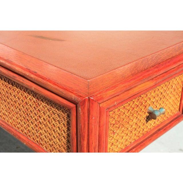 Vintage Barbara Barry for McGuire Leather Top Desk For Sale - Image 10 of 13
