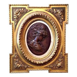 """1889 Art Nouveau Paris Exhibition """"North Wind Maiden"""" Wall Plaque For Sale"""