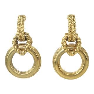 Robert Goossens Gold Tone Door Knocker Earrings, 1980's For Sale