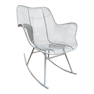 Woodard Mesh Mid Century White Rocking Chair For Sale