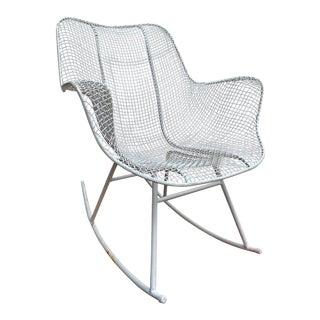 Woodard Mesh Mid Century White Rocking Chair For Sale