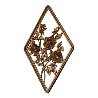 Mid Century Gold Flower Wall Art For Sale