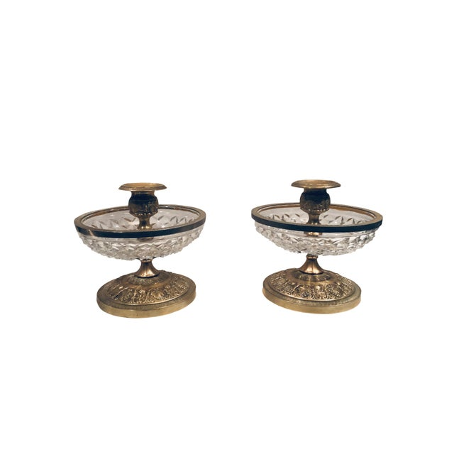 Baccarat 1940s Baccarat Dore Bronze Candleholders- a Pair For Sale - Image 4 of 6