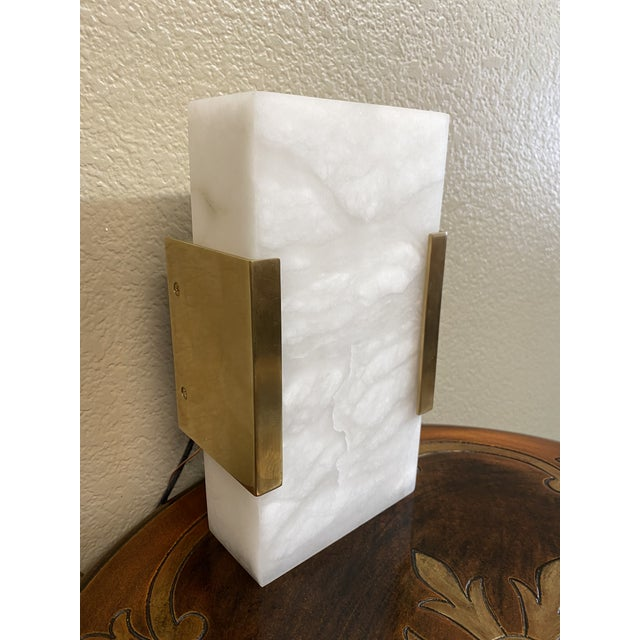 Visual Comfort Covet Wide Clip Bath Alabaster Wall Sconces - a Pair For Sale - Image 9 of 13