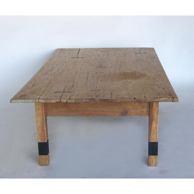 Wood Striped Wood Coffee Table with Drawer with Butterfly Joinery For Sale - Image 7 of 10