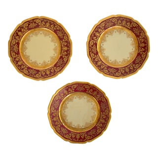 Heinrich and Co. Selb H & C Bavaria German Porcelain Red and Gold Encrusted Bread & Butter Plates - Set of 3 For Sale