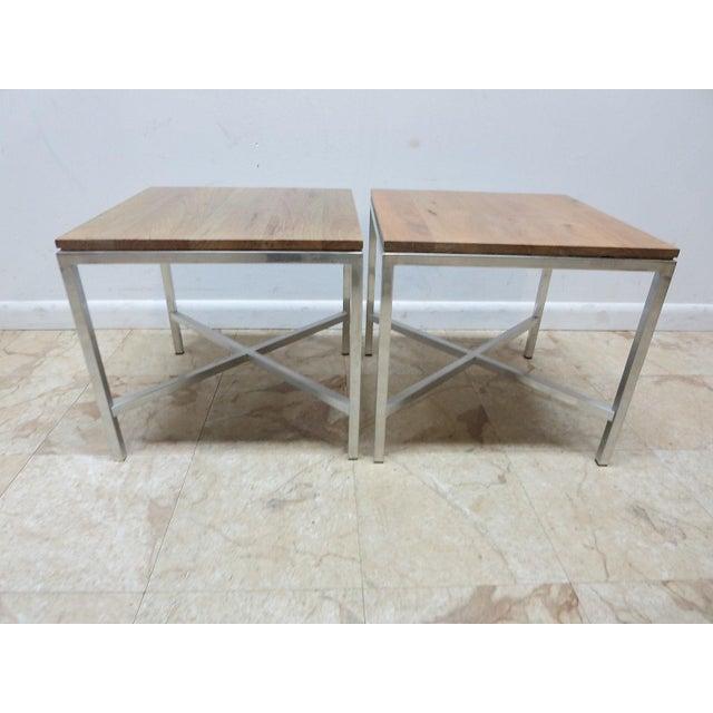 Tan Tomlinson Milo Baughman Mid-Century Walnut Aluminum End Tables - A Pair For Sale - Image 8 of 8