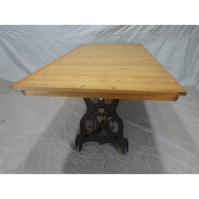 Antique Swedish Iron Base Dining Table For Sale In Miami - Image 6 of 6