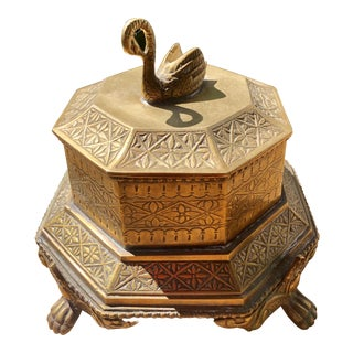 1970's Hollywood Regency Octagonal Footed Brass Swan Box For Sale