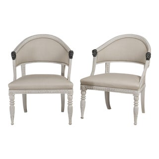 A Pair of Painted Swedish Empire Armchairs circa 1800 For Sale