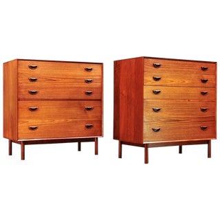 Vintage Mid-Century Rustic Bohemian Teak Peter Hvidt Danish Dressers For Sale